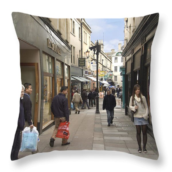 The Wait In Bath Throw Pillow by Mike McGlothlen