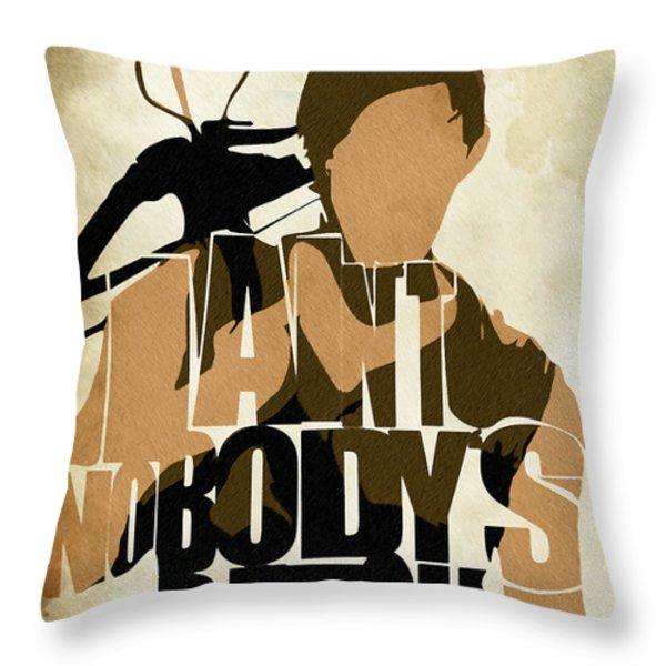 The Walking Dead Inspired Daryl Dixon Typographic Artwork Throw Pillow by Ayse Deniz