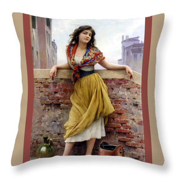 The Water Carrier Poster Throw Pillow by Eugene de Blaas