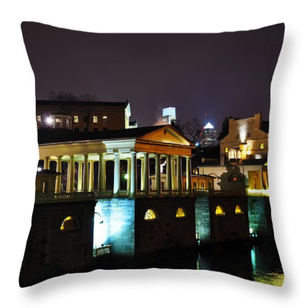The Waterworks at Night Throw Pillow by Bill Cannon