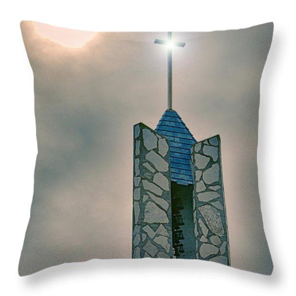 The Wayfarers Chapel Steeple Throw Pillow by Donna Van Vlack