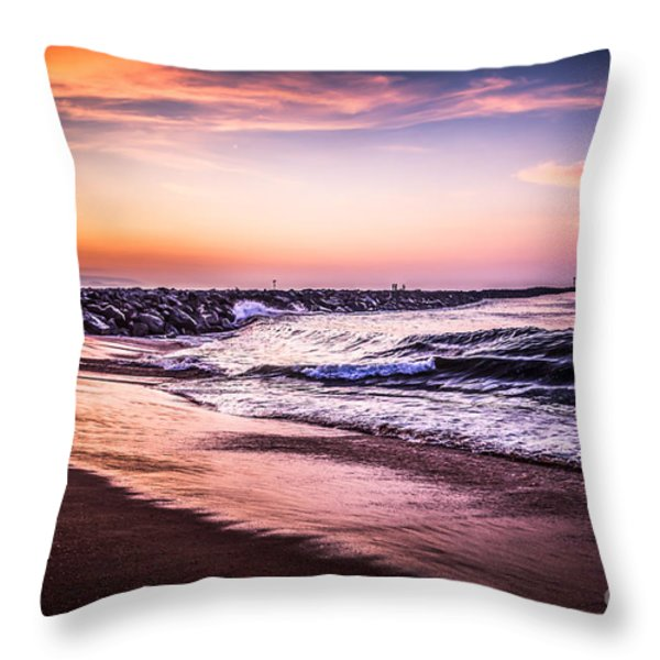 The Wedge Newport Beach California Picture Throw Pillow by Paul Velgos