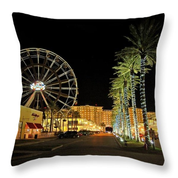 The Wharf at Night  Throw Pillow by Michael Thomas