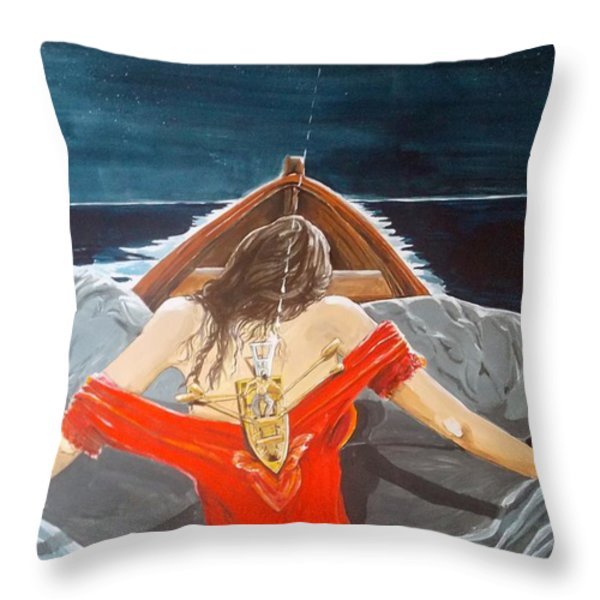 the whims of the moon listen with music of the description box Throw Pillow by Lazaro Hurtado