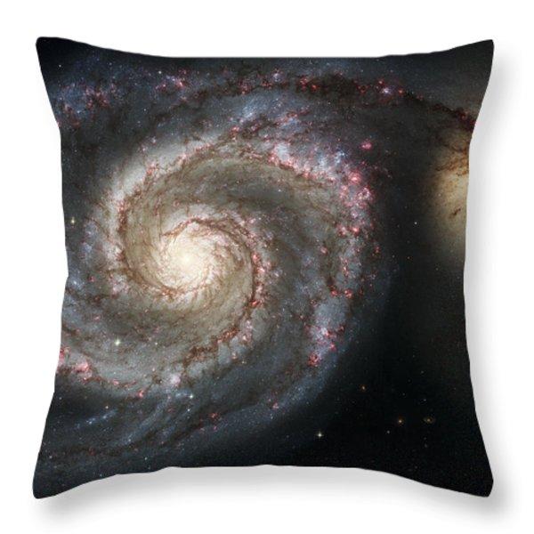 The Whirlpool Galaxy M51 and Companion Throw Pillow by Adam Romanowicz