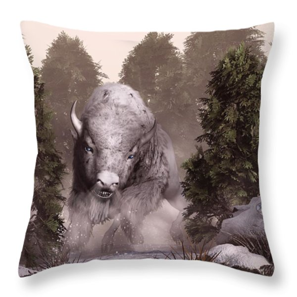 The White Buffalo Throw Pillow by Daniel Eskridge