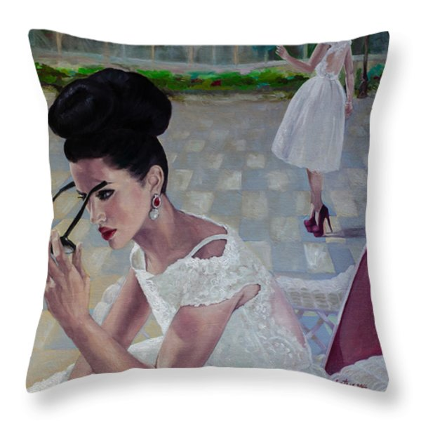 The White Lace Dress Throw Pillow by Dorina  Costras