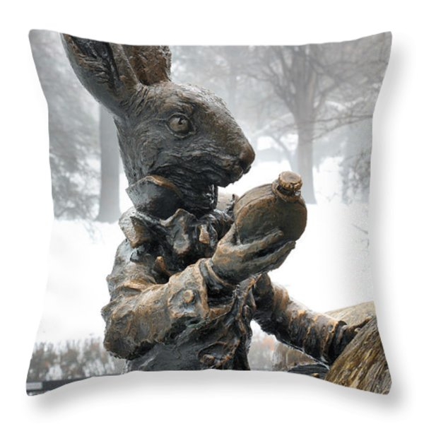 The White Rabbit  Throw Pillow by JC Findley