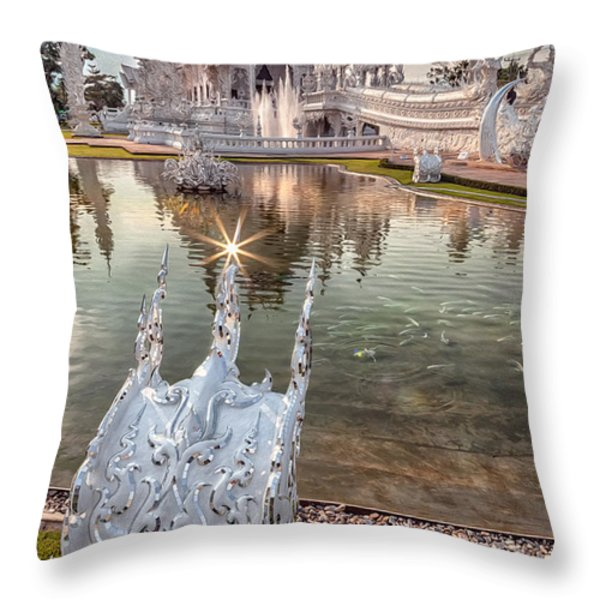 The White Temple Throw Pillow by Adrian Evans