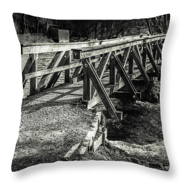 the wooden bridge Throw Pillow by Hannes Cmarits