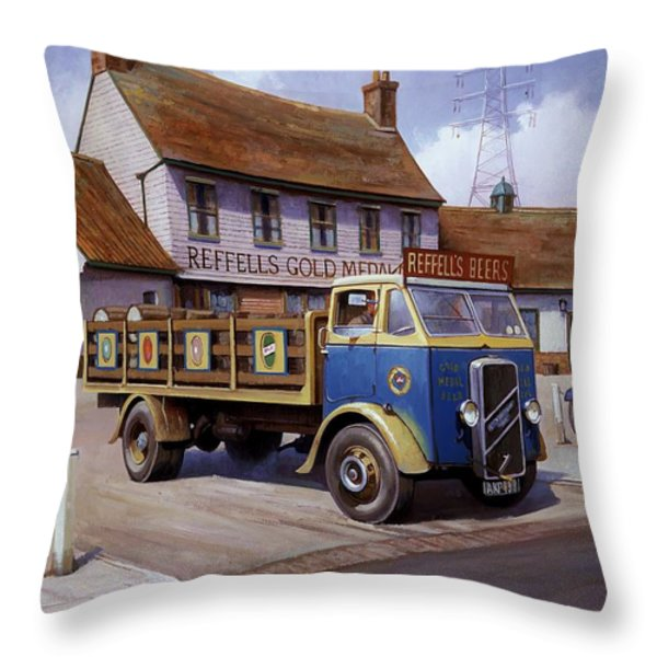The Woodman Pub. Throw Pillow by Mike  Jeffries