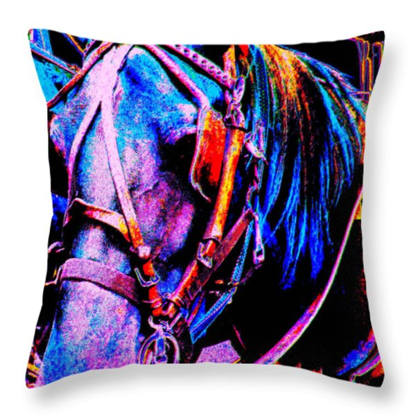 The Working Horse IIi Throw Pillow by Annie Zeno