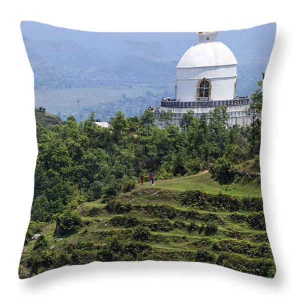 The World Peace Pagoda Pokhara Throw Pillow by Robert Preston