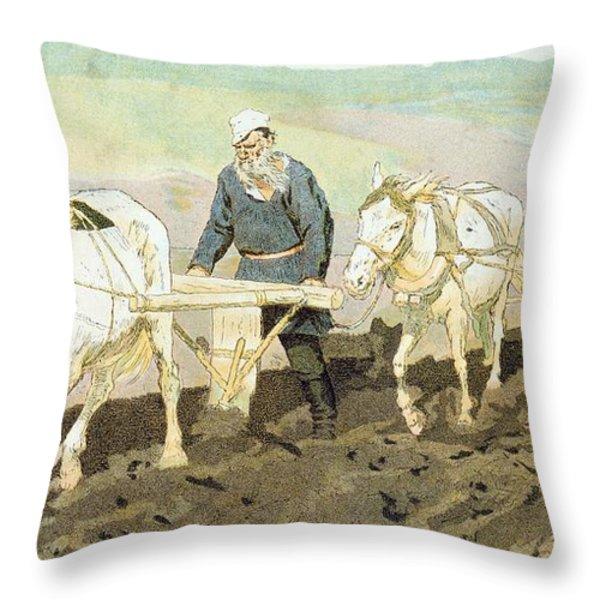 The Writer Lev Nikolaevich Tolstoy Throw Pillow by Ilya Efimovich Repin