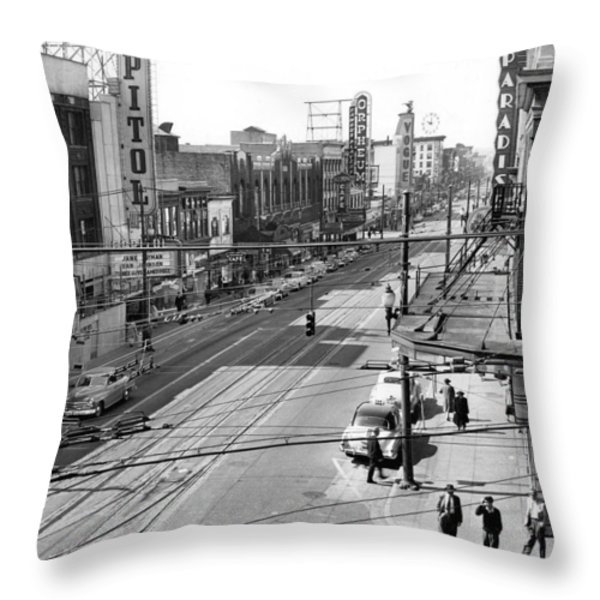Theater Row - Vancouver Canada - 1951 Throw Pillow by Daniel Hagerman