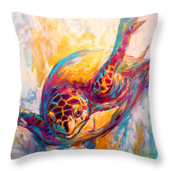 There's More than Just fish in the Sea - Sea Turtle Art Throw Pillow by Savlen Art