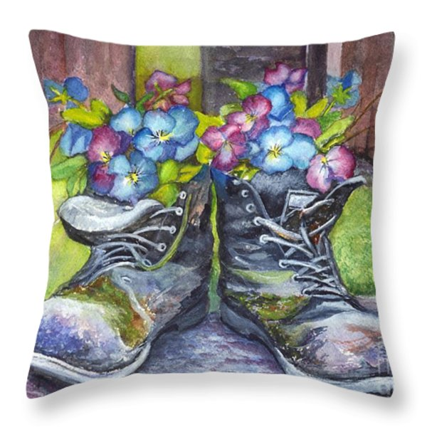 These Boots Were Made For Planting Throw Pillow by Carol Wisniewski