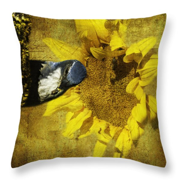 These Sunflower Seeds Are All Mine Throw Pillow by Diane Schuster