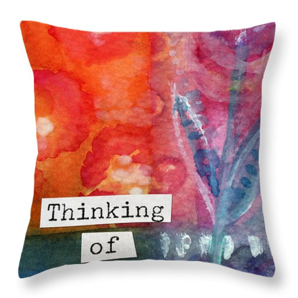 Thinking Of You Art Card Throw Pillow by Linda Woods