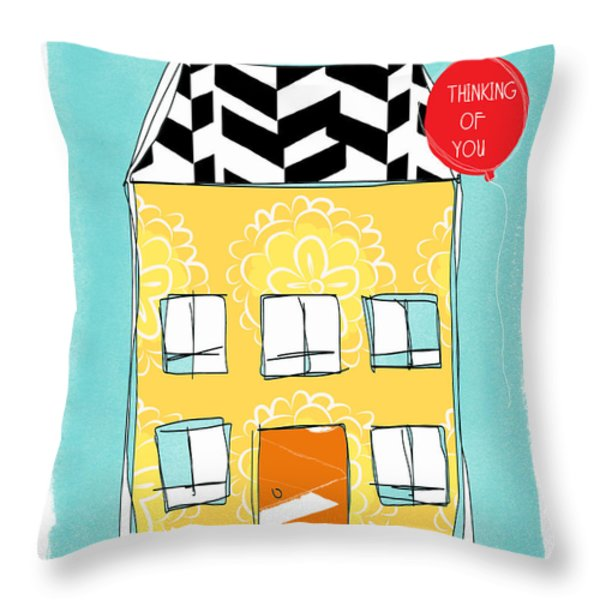 Thinking Of You Card Throw Pillow by Linda Woods