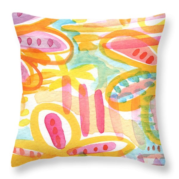 Thinking Of You- Flower Card Throw Pillow by Linda Woods