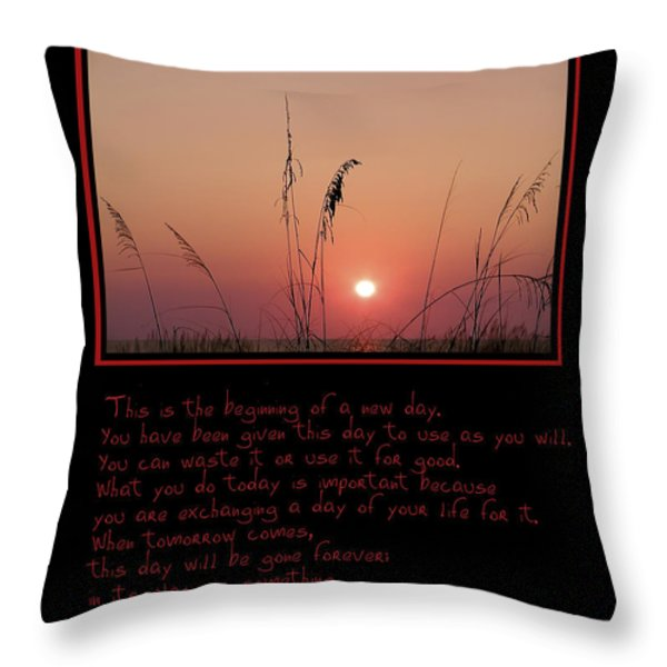 This is the Beginning of a New Day Throw Pillow by Bill Cannon