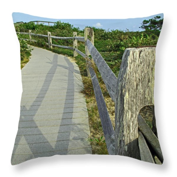 This Way To The Beach Throw Pillow by Barbara McDevitt