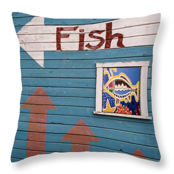This Way To The Fish Throw Pillow by Carol Leigh