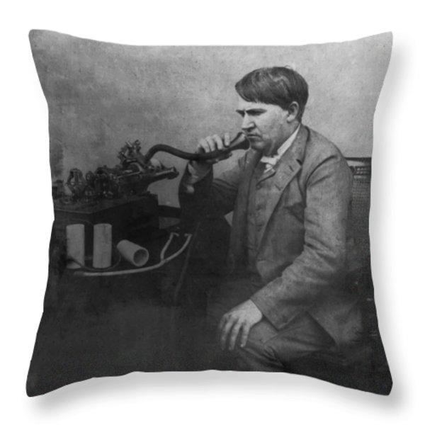 Thomas Alva Edison 1892 Throw Pillow by Digital Reproductions