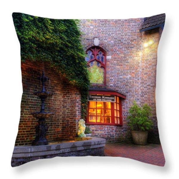 Thomas Kinkade At The Village in Gatlinburg Throw Pillow by Greg and Chrystal Mimbs