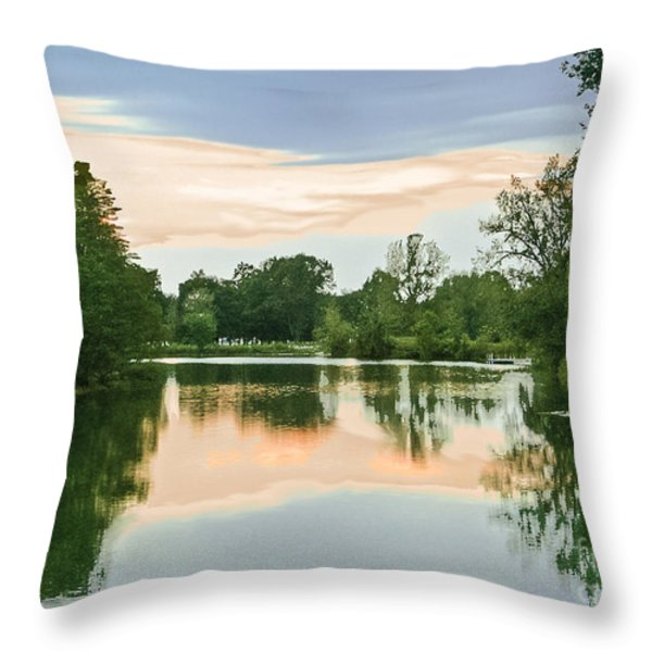 Thousand Trails HorseShoe Lake Throw Pillow by  Bob and Nadine Johnston