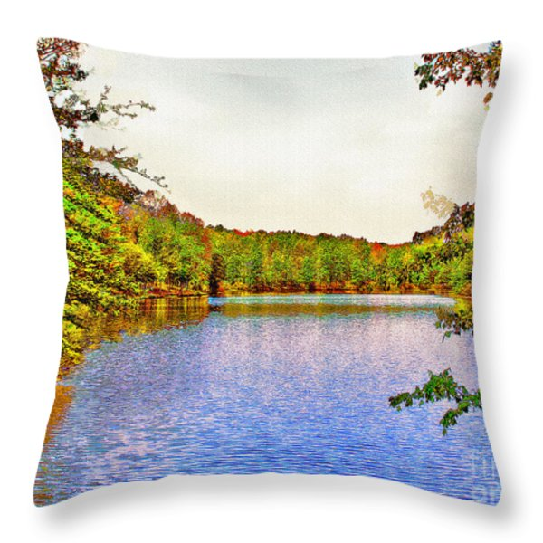 Thousand Trails Preserve Natchez Lake  Throw Pillow by  Bob and Nadine Johnston
