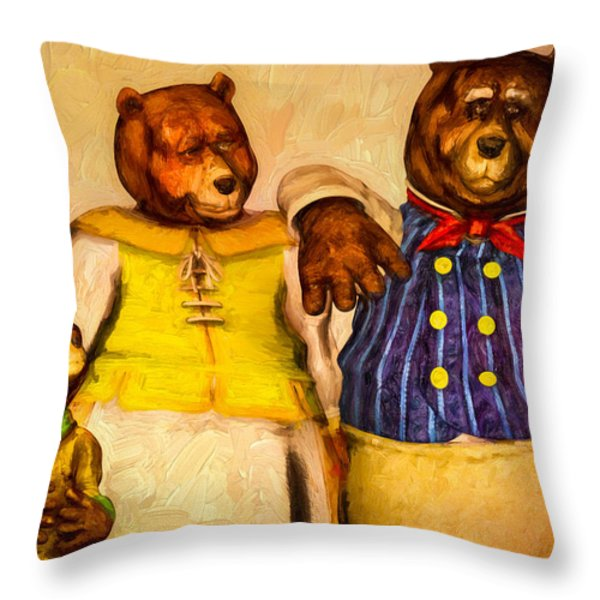 Three Bears Family Portrait Throw Pillow by Bob Orsillo