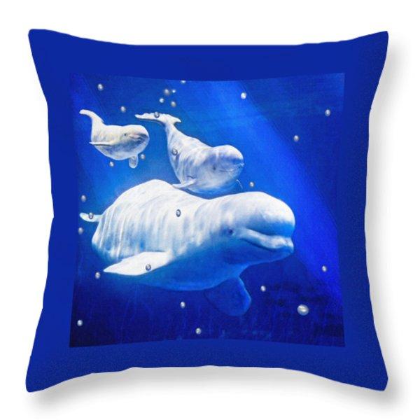 Three Belugas Throw Pillow by Jane Schnetlage