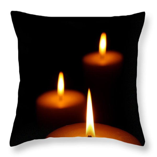 Three Burning candles Throw Pillow by Johan Swanepoel