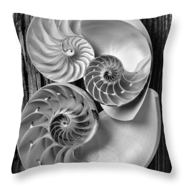 Three chambered nautilus in black and white Throw Pillow by Garry Gay