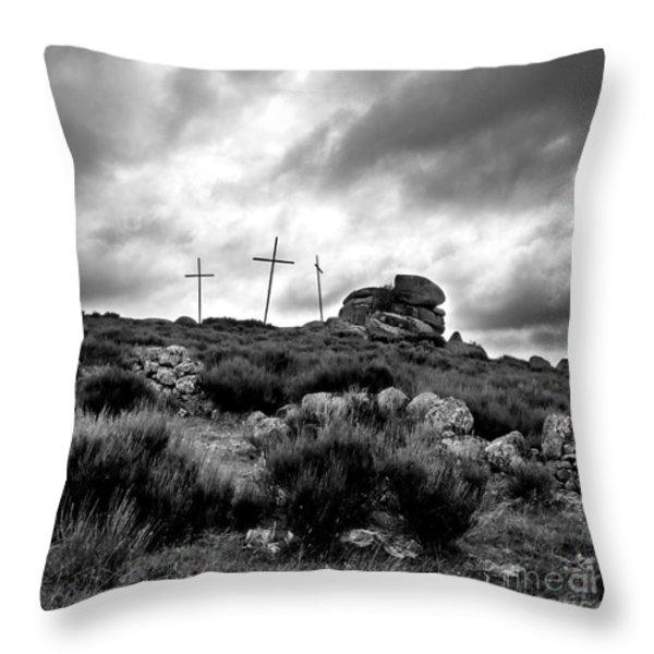 Three Crosses Throw Pillow by Bernard Jaubert
