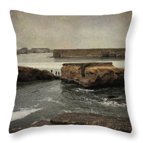 Three Fishermen Throw Pillow by Laurie Search