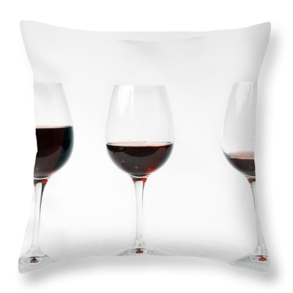 Three Glasses Of Wine  Throw Pillow by Patricia Hofmeester