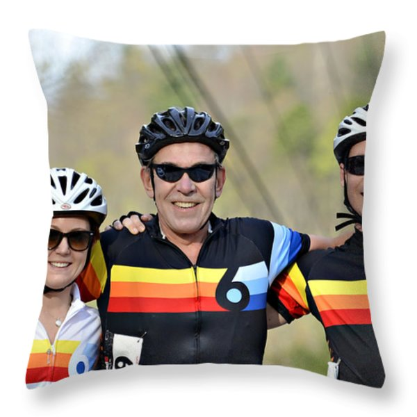 Three Gran Fondo Riders Throw Pillow by Susan Leggett