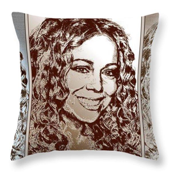Three Interpretations Of Mariah Carey Throw Pillow by J McCombie