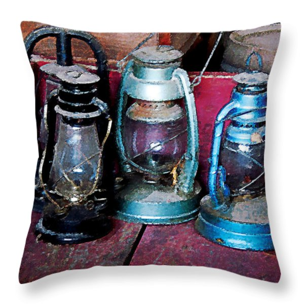 Three Kerosene Lamps Throw Pillow by Susan Savad