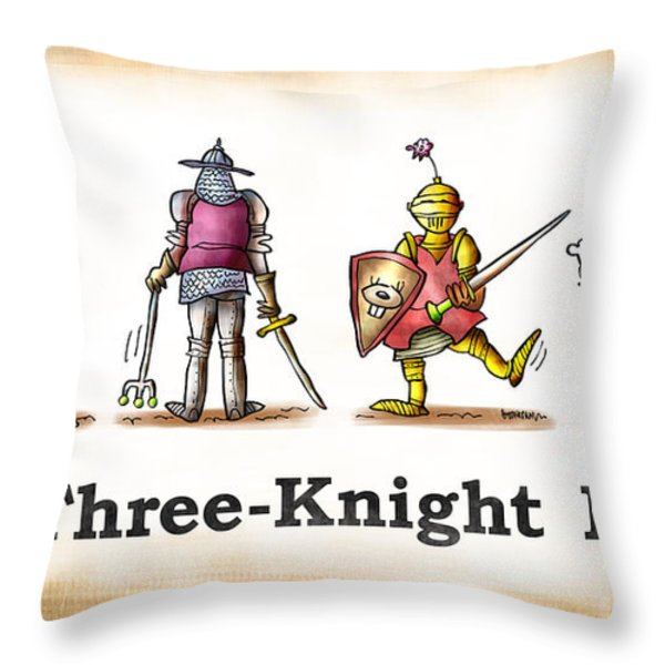 Three Knight Dog Throw Pillow by Mark Armstrong