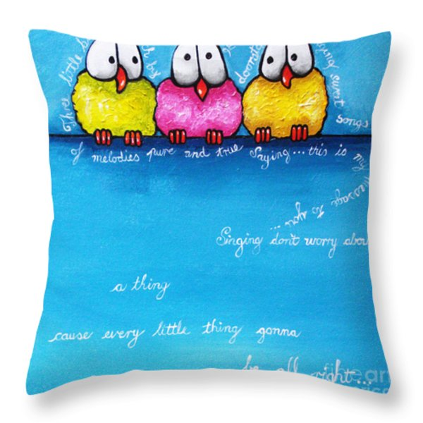 Three Little Birds Throw Pillow by Lucia Stewart