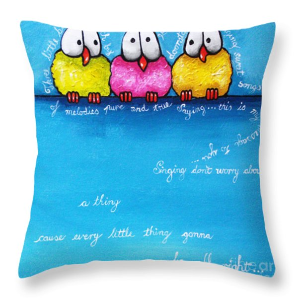 Three Little Birds Throw Pillow by Lucia Stewart