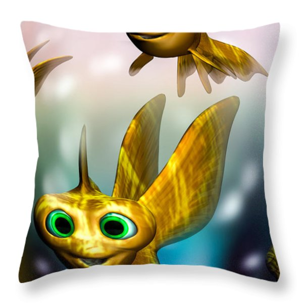 three little fishies and a mama fishie too Throw Pillow by Bob Orsillo