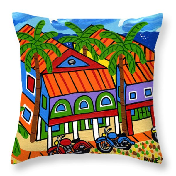 Three Motorcycles At Cedar Key Throw Pillow by Mike Segal