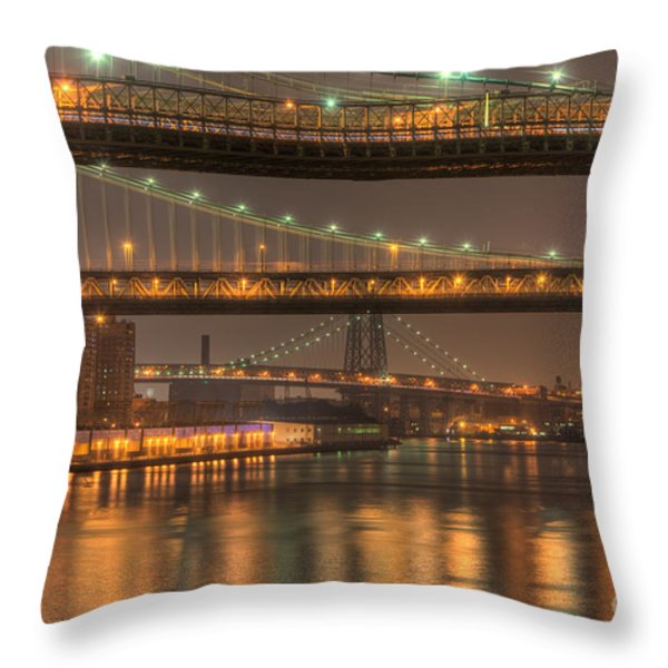 Three New York Bridges Throw Pillow by Clarence Holmes