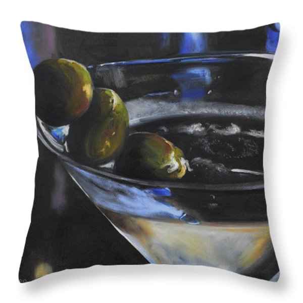 Three Olive Martini Throw Pillow by Donna Tuten