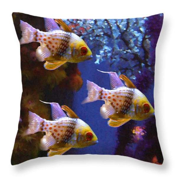 Three Pajama Cardinal Fish Throw Pillow by Amy Vangsgard